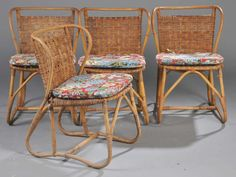 Danish 1940s-1950s Rattan Dining Set | From a unique collection of antique and modern dining room sets at https://www.1stdibs.com/furniture/tables/dining-room-sets/