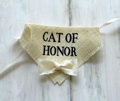 Cat of Honor - Wedding Cat Bandana with Bowtie #cat-of-honor #dog-collar #wedding-dog-bandana
