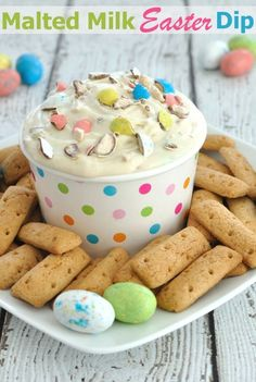 Malted Milk Easter Dip Recipe- If you love malted milk or whopper eggs, then you will love this festive Easter dessert dip.