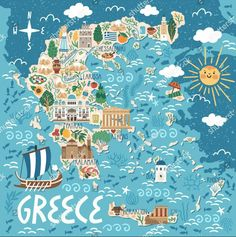 Travel infographic Vector stylized map of Greece. Travel illustration with greek landmarks building plants and traditional food. Travel Map Pins, Travel Maps, New Travel, Travel Posters, Places To Travel, Food Travel, Heraklion, Greece Map, Greece Travel