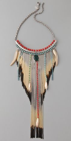 """Iosselliani Shaded Fringe Shell Necklace :: This sterling silver chain necklace features a faceted agate stone, rhinestone chains, and shell charms at the shaded snake-chain fringe. Lobster-claw clasp.        17"""" (43 cm) long.      Fringe is 9"""" (23 cm) long.      Made in Italy."""