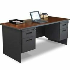 "Marvel® - Pronto® 66""W Double Pedestal Desk, Dark Neutral/Mahogany by THE MARVEL GROUP, INC.. $682.00. Marvel - Pronto 66""W Double Pedestal Desk, Dark Neutral/Mahogany Melamine Laminate Top with 2 - 2"" Grommets. Full legs include 2 - 2"" knockouts. Modesty Panel with Wire Management. 2 Locking Hanging Pedestals with Box/File. Drawers include ball bearing slides. Textured powder coat is one of the most durable high quality finishes. 66"" W X 30"" D Double Pedestal ..."