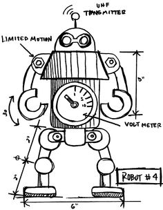 Tim Holtz Rubber Stamp 2015 ROBOT SKETCH Stampers Anonymous P12631
