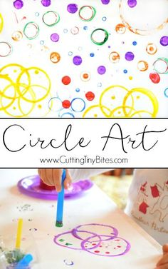 For Kandinsky- Circle Art Process Painting. Open-ended creative activity for toddlers, preschoolers, kindergarteners, or elementary children, perfect for exploring shapes and colors. Creative Activities For Toddlers, Toddlers And Preschoolers, Toddler Activities, Shapes Toddlers, Preschool Painting, Painting Activities, Preschool Activities, Shape Activities, Preschool Shapes
