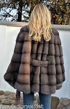 2015 MILANO GRAPHITE SUPERIOR SAGA MINK FUR PONCHO CLAS OF JACKET COAT SABLE FOX