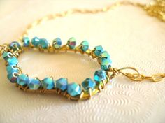 Turquoise rain Cloud Swarovski necklace by Vitrine Gift for her OOAK via Etsy