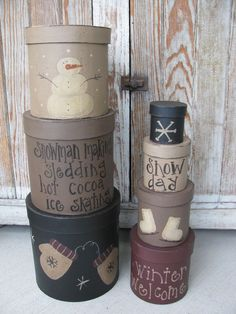 Primitive Winter Days Set of 7 Stacking Box by GainersCreekCrafts