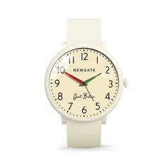 The Club watch in Minky White by Newgate Watches. A large dial and oversized case make this a statement timepiece for men and women. A retro inspired design with vintage Great Britain handwriting. See the full collection of iconic British timepieces at www.newgatewatches.com.