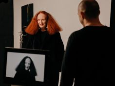 Welsh-born Vogue magazine creative director-at-large Grace Coddington taking part in the filming of W magazine's I am An Immigrant, a video project featuring prominant artists, designers, creators, and models born outside of the US speaking in solidarity with those affected by the xenophobic policies of the presidential administration of Donald Trump, New York City, New York, United States, 2017, photograph by Biel Parklee.