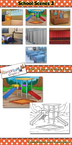 This School Background Scenes Clip art is part 3 of a 3 part series.