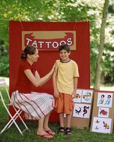 Kids Carnival Party - Temporary Tattoo Booth: Temporary tattoos make memorable favors at a carnival-themed party. Set up a booth and enlist a grown-up to play tattoo artist. Backyard Carnival, Spring Carnival, Carnival Themed Party, Carnival Birthday Parties, Kids Birthday Party Games, Block Party Games, Carnival Party Invitations, Theme Parties, Wedding Invitations