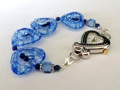 Blueberry Hearts Interchangeable Watch Band by PennysBeadQueen2, $12.00