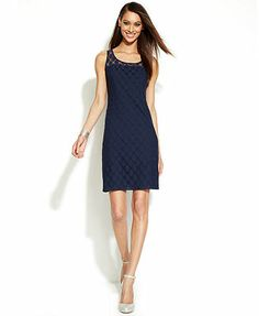 My new dress .INC International Concepts Illusion Polka-Dot Sheath Dress