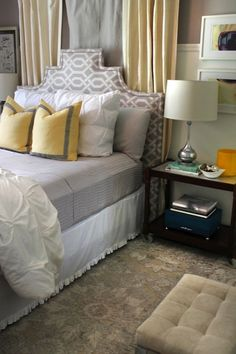 The Hunted Interior - bedrooms - P. Kaufmann Slick - Grey, West Elm Pin-Tuck Sham, custom, upholstered, headboard, gray, walls, bed in front of window, yellow, pillows, gray, border, trim, yellow and gray bedroom, gray and yellow bedroom, gray and yellow bedrooms,