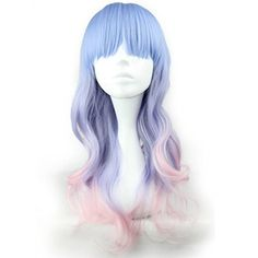 Mixed Color 24 Inches/60cm Long Curly Anime Cosplay Heat Resistant Wig With Free Cap(Blue Mixed Purple) ** To view further for this item, visit the image link.