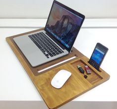 Laptop desk Portable desk laptop table Macbook by artWoodworking