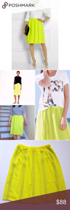 NWOT J. Crew Collection Neon Silk Skirt Gorgeous! NWOT J. Crew Collection neon yellow (bright kiwi) skirt. 100% silk. Completely sold out! Neon chartreuse silk lace stripes, hidden side zipper, waistband with grosgrain inner trim, lined. No Trades! No rips/tears/stains. All Reasonable Offers Accepted! J. Crew Skirts