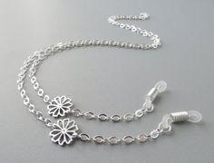 Silver Eyeglasses Chain  Flower  Eye Glass Chain  by HalfSnow