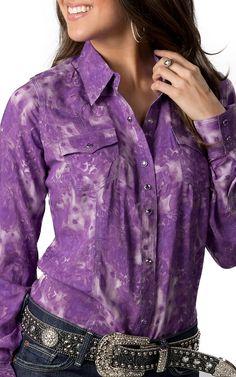 Rock 47™ by Wrangler® Women's Purple Tie Dye Long Sleeve Western Shirt   Cavender's