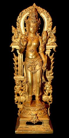 "Balinese Gold Figure of Tara. Circa 900 AD to 1300 AD, Indonesia. Tara is the feminine counterpart of the bodhisattva (""Buddha-to-be"") Avalokitesvara (meaning one who hears the cries of the world). According to popular belief, Tara came into existence from a tear of Avalokitesvara, which fell to the ground and formed a lake. This and more important Asian art for sale on the CuratorsEye.com."