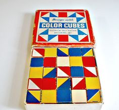 Vintage Color Cubes Embossing Company with Original Box  Designing  Set of 25 Wooden Blocks. $34.99, via Etsy.