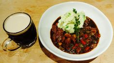 Beef and Guinness stew (beef, Guinness, beef stock, carrot, parsnip, celery, onion, leek, rosemary & thyme). Served with Champ ( mashed potato, butter, sour cream & scallion).
