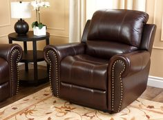 Lowest price on Abbyson Living Hogan Two-Tone Burgundy Reclining Italian Leather Armchair CH-8811-BRG-1. Shop today!