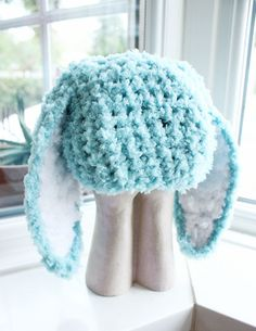 3 to 6m Infant Bunny Hat Baby Beanie Crochet Boy Girl Hat - Bunny Baby Hat Mint Blue White Flopsy Rabbit Hat Photo Prop by BabaMoon on Etsy https://www.etsy.com/listing/79515983/3-to-6m-infant-bunny-hat-baby-beanie