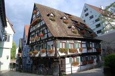 Traditional German house in Ulm. Now this is what I would call window boxes!