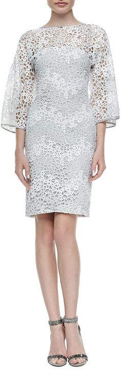 $2,490, Rubin Singer Camelia Lace Kimono Sleeve Sheath Dress Graywhite. Sold by Neiman Marcus. Click for more info: http://lookastic.com/women/shop_items/130136/redirect