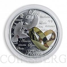 Niue 2 dollars Love Forever Doves rings silver gilded proof coin 2011