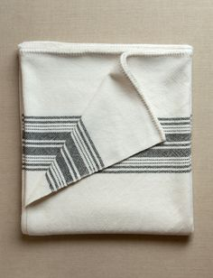 Vintage Stripes Merino Blanket from Purl Soho: We designed our Vintage Stripes Merino Blankets to be exactly what we want a blanket to be, a cocoon of the coziest material we could imagine in a weight that feels perfectly protective and toasty. In Purl Soho's own Line Weight merino, each blanket is expertly hand woven and stunningly beautiful! Its measurements are 62 x 54 inches.  $210.00