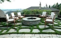 Love this crazy pave and fire pit.