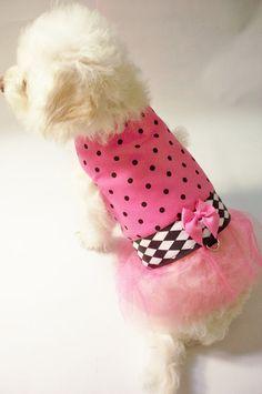 Dog Dress Pink and Black Polkadot Dog Tutu von RockinDogs auf Etsy, $24,95