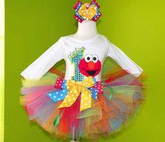 Rainbow Elmo Birthday Girls Tutu Outfit. $56.99, via Etsy.