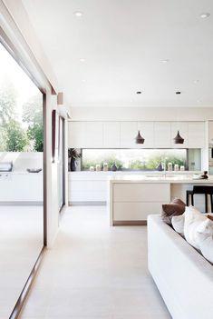 Rustic Home Design, Modern Kitchen Design, Interior Design Kitchen, Minimal Kitchen, Modern White Kitchens, Long Kitchen, Kitchen White, Open Kitchen, Küchen Design