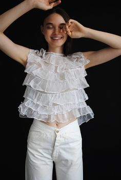 1930s Tiered Organdy Blouse