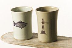 Light house mug and fish mug beach house décor by HadasShallom, $44.00