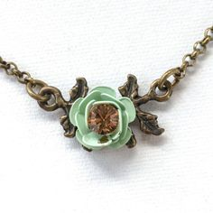 Vintage-Michal-Negrin-Necklace-Swarovski-Crystal-Turquoise-Flower-18