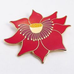 Vintage signed Laurel Burch Lotus flower cloisonne by jewelry715, $25.00