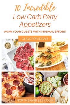 Wow your guests with these 10 incredible low carb party appetizers! Spend just a few minutes in the kitchen and create these delicious dishes that burst with flavor, but don't fill you up so much that you can't enjoy your mains! #lowcarbappetizers #lowcarbpartyfood #lowcarbpartyappetizers Low Carb Appetizers, Appetizers For Party, Best Low Carb Recipes, Low Carb Breakfast, Delicious Dishes, Fill, Dinner Recipes, The Incredibles, Lunch