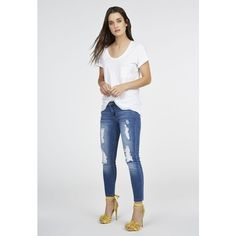 Justfab Signature Skinny Distressed Ankle Grazer ($40) ❤ liked on Polyvore featuring jeans, blue, slim fit skinny jeans, destroyed skinny jeans, ripped jeans, torn skinny jeans and distressed skinny jeans