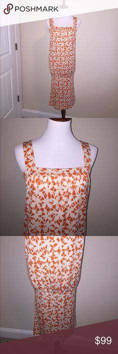 🆕DVF Silk Matilda Drop Waist Dress DIANE von FURSTENBERG Matilda Dress w/ POCKETS! Vibrant orange & cream color unique abstract print. 100% Silk but feels like cotton & has stretch. Sz 6 w/ drop waist, square neckline & pencil skirt bottom. Can wear pulled straight down or scrunched up for shorter look as pictured (same dress, different fabric). Super comfy! Great used condition except for small pen mark back pocket per pic & barely noticeable dry cleaner mark on back hem per last pic…