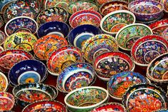 Turkey - so much color. Turkish Bowls (stock photo) The link takes you to Natasha Sabrin Khan's travel blog, which has some *fantastic* photos.  I could not pin one of her pics, alas.