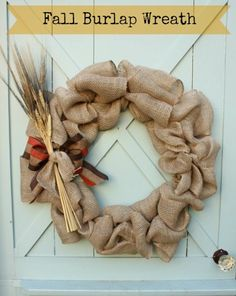 Fall Burlap Wreath with Step by Step Directions for Making a Bow
