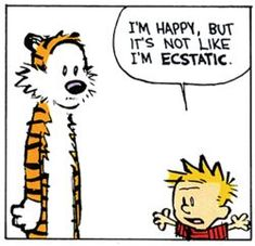 Calvin and Hobbes - I'm happy, but it's not like I'm ECSTATIC.