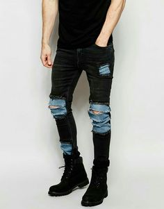 Buy ASOS Super Skinny Jeans With Mega Rip And Repair In Washed Black at ASOS. Get the latest trends with ASOS now. Mens Distressed Skinny Jeans, Ripped Jeans Men, Jeans Slim, Ripped Skinny Jeans, Super Skinny Jeans, Black Jeans, Men's Jeans, Jean Diy, Jean Délavé