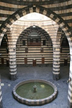 Tradional Syrian architecture. Black basalt and limestone in alternate layers.