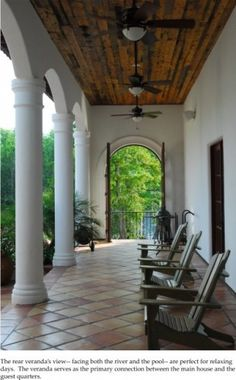 tiled floor wood ceiling arch and columns by Joao - slows my thoughts just looking at it Outdoor Spaces, Outdoor Living, Outdoor Decor, Spanish Courtyard, Front Door Porch, Front Doors, Porch Fireplace, Floor Ceiling, Ceiling Fans