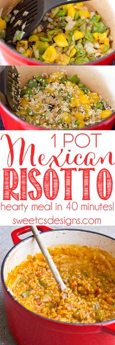 one pot mexican risotto- just 40 minutes and it feeds 6! Our family loves this meal!